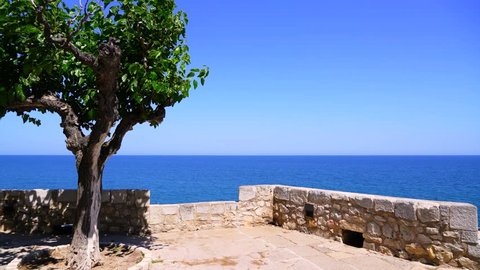 view from the old town of Peniscola, Spain, to the sea on a great summer day - relaxing and harmonic