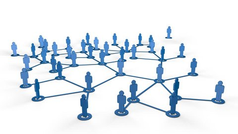 Social media / network of people animation of people icons with connecting lines.