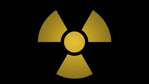 Radiation Symbol Flashing ON/OFF w/ Alpha. Graphic pictogram element of a yellow ionizing radiation warning sign blinking ON and OFF. Includes alpha channel for transparency.