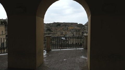 Panoramic view of Matera - Italy-Matera Capital of Culture 2019 - Steady cam