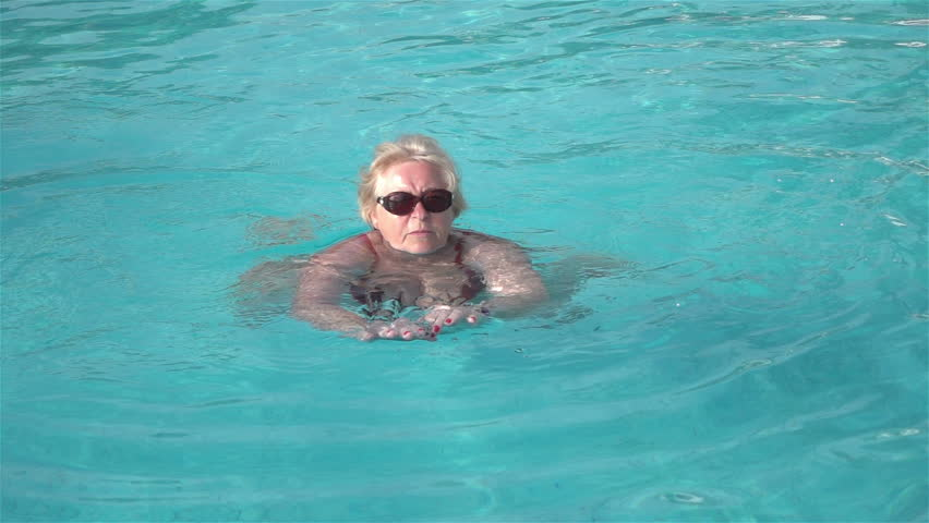High Quality Video Of Senior Woman Swimming In The Pool In Real 1080p Slow  Motion 250fps