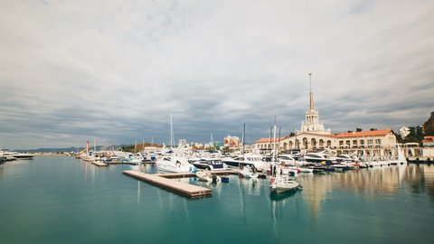 Timelapse of historical center and Sochi sea port