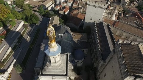 AVIGNON  FRANCE  NOV 2016 - DRONE SHOT - HISTORICAL CENTER AND POPES PALACE SQUARE. ORIGINAL POINT OF VIEW.