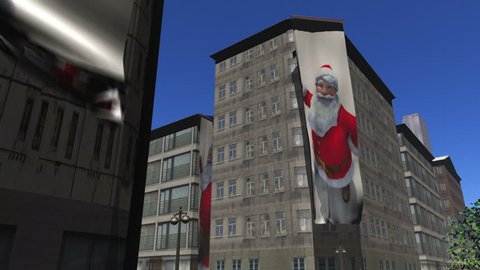 Santa banners unfurl down the side of buildings version2