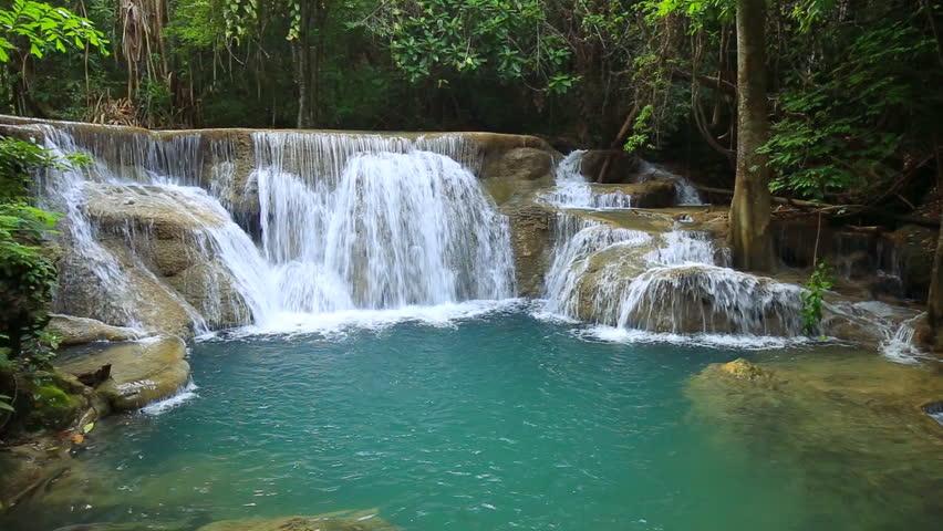 Erawan Waterfall In Thailand. Idyllic Tropical Paradise ...
