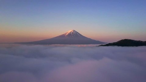 Mt.Fuji and a sea of clouds dolly drone shot