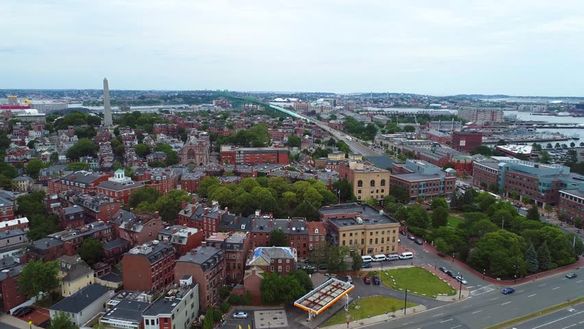 Aerial video Charlestown Boston and Bunker Hill Monument 4k 60p