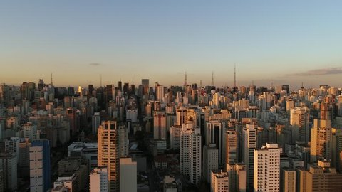 Flying over Sao Paulo buildings in Brazil, South America