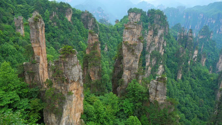 Panning shot of Zhangjiajie National forest park, Wulingyuan, Hunan, China | Shutterstock HD Video #28739893
