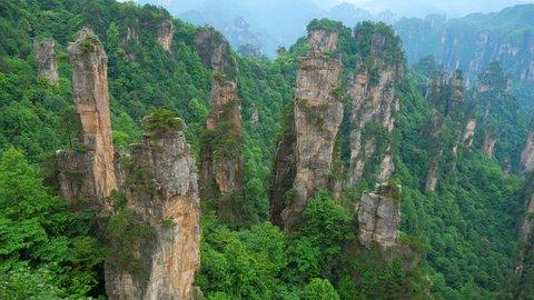 Panning shot of Zhangjiajie National forest park, Wulingyuan, Hunan, China