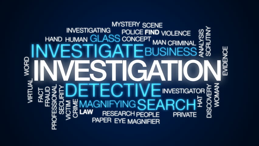 Investigation animated word cloud, text design animation.