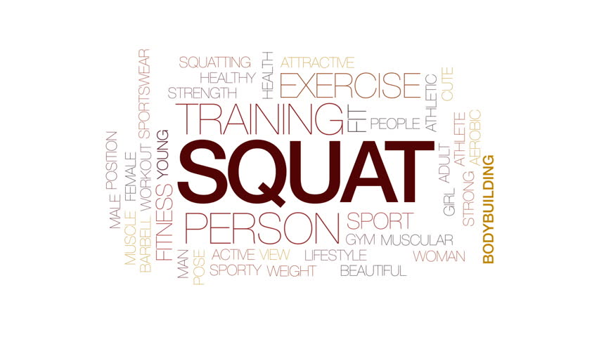 Squat animated word cloud, text design animation. Kinetic typography.