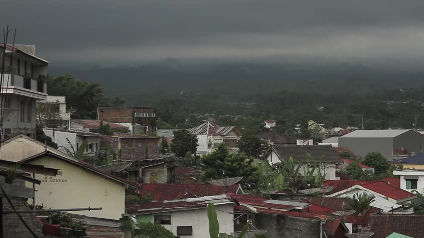 town scape in Wonosobo city, Central Java Indonesia when overcast. circa May 2012