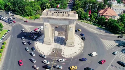 Aerial view of the Arc of Triumph in Bucharest, Romania