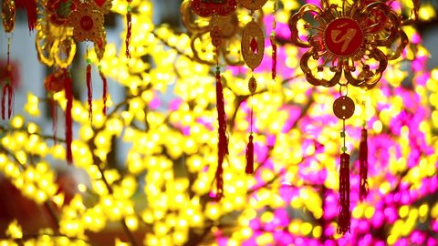 Vietnamese city center Lucky charm items in red and gold are for sale before lunar new year, called Tet in Vietnam