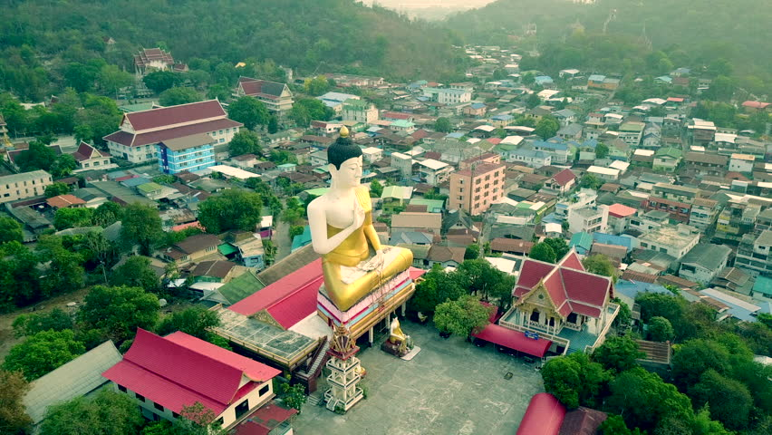High angle view, bird's eye view with a large Buddha image drone in Thailand | Shutterstock HD Video #28770373