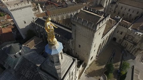 AVIGNON  FRANCE  NOV 2016 - DRONE SHOT - HISTORICAL CENTER AND THE  PALACE OF THE POPES SQUARE. ORIGINAL POINT OF VIEW.