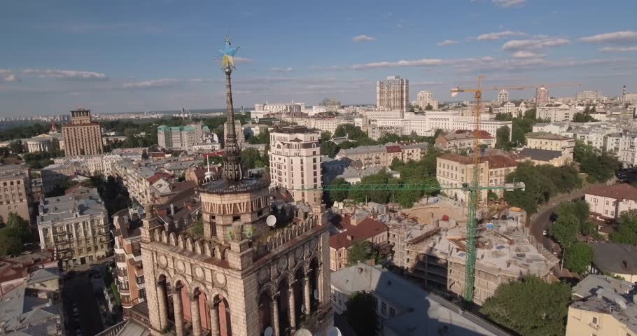 Panorama of the city of Kiev, aerial photography. Cityscape from a bird's eye view. City architecture. Summer is the city at sunset. Flight over city architecture.  | Shutterstock HD Video #28796863