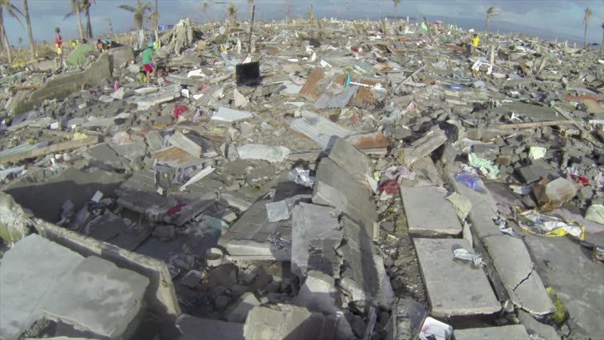 Hurricane typhoon Haiyan aftermath drone at Tacloban