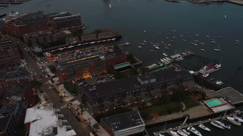 Aerial drone video Boston fishermanS wharf harbor 4k