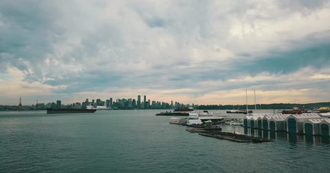 VANCOUVER,CANADA - CIRCA July 2017 :rising aerial of Vancouver downtown from Lonsdale