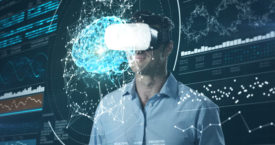 Attentive man using virtual reality headset and futuristic screen
