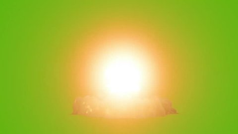 Nuclear Bomb Explosion Green Screen 3D Rendering Animation Light VFX