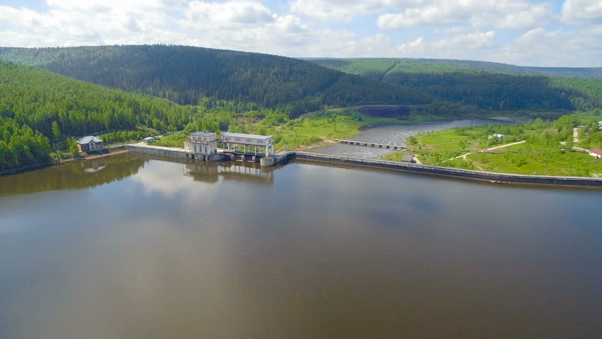 dam and hydroelectric power station in summer day aerial view #28861177