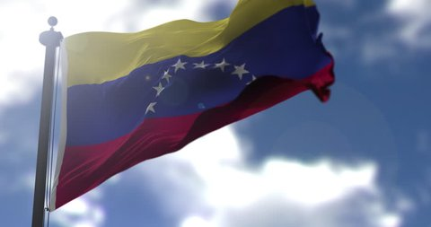 Venezuela flag is waving at a beautiful and peaceful sky in day time while sun is shining. 3d rendering.