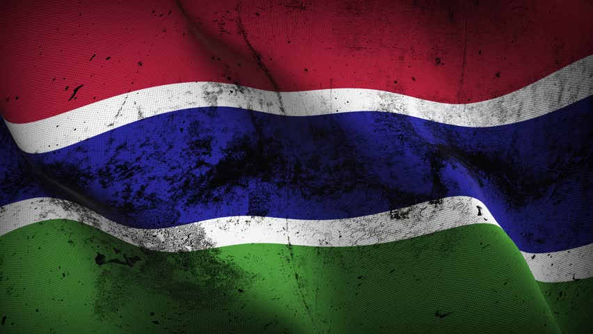 Gambia grunge flag waving seamless loop. Gambian loopable dirty flag with highly detailed fabric texture.