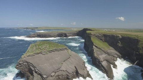 Aerial View Loop Head Peninsula in West Clare, Ireland. Kilkee Beach County Clare, Ireland. Famous beach and landscape on the wild atlantic way. Epic Aerial scenery landscape from Ireland. Flat video
