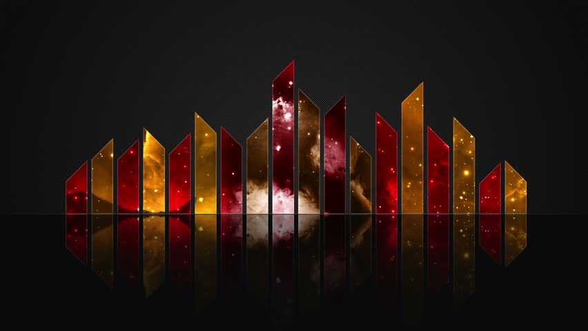 Cosmic Crystal Glass Audio Bars Glowing Version 02 VJ Loop Animated Motion Background Seamless Looping Video Backdrop Red Orange Golden Yellow