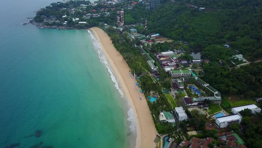 Beautiful Tropical Sea Waves Splash At Fine Empty Beach Aerial Shot