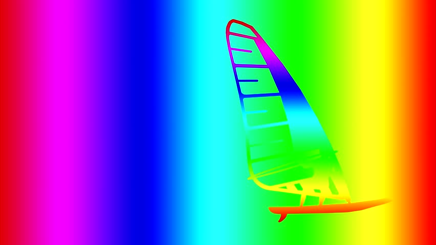 Silhouette of a surfer, the colors of the rainbow will sail on a rainbow background. Merges with the background. The background colour of the rainbow. Appears out of the background color. | Shutterstock HD Video #28924243