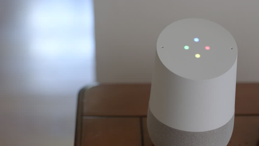 Smart Home Voice Controlled Gadget Responding To Command