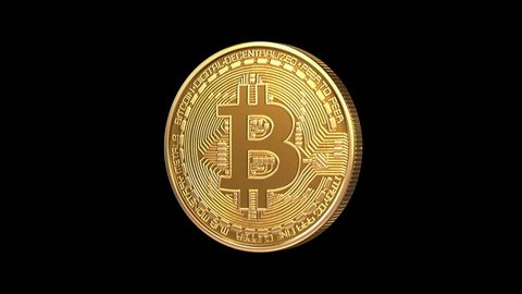 Rotating Bitcoin on a green background, seamless looping 3d animation. Full HD 1080