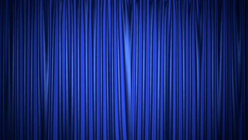 Movie theater blue curtain 3D animation with both chroma key and alpha mask included