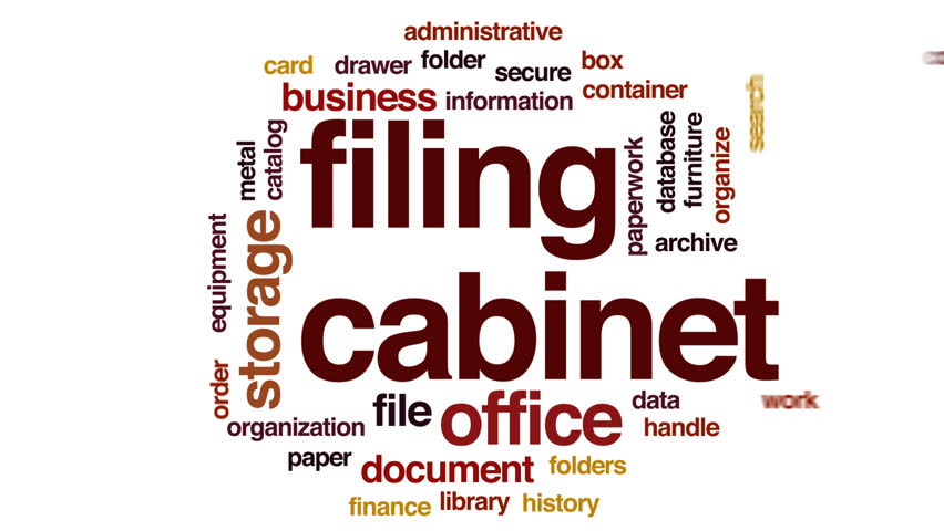 Filing cabinet animated word cloud, text design animation.
