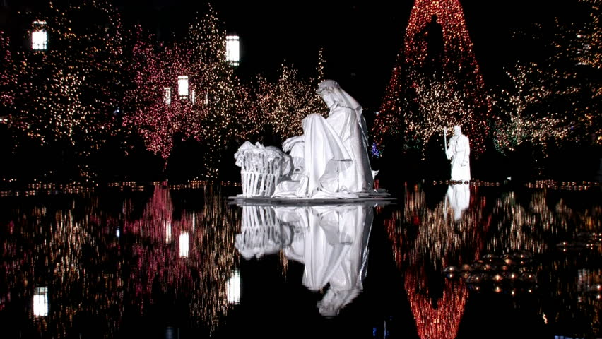 Christmas Nativity Scene In The Middle Of A Reflection Pool On ...