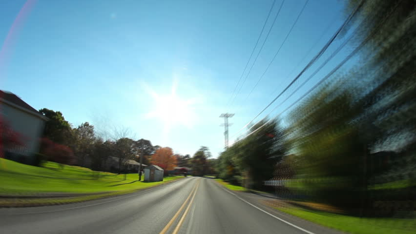 Time lapse shot of a driver's perspective of the back roads of western