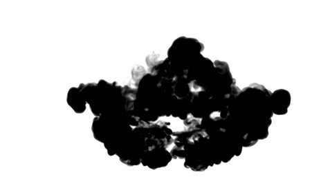 ink flows on white moving in slow motion, ink inject or blow smoke. Black in water for Inky or smoky background or ink effects. Use luma matte like alpha mask or alpha channel