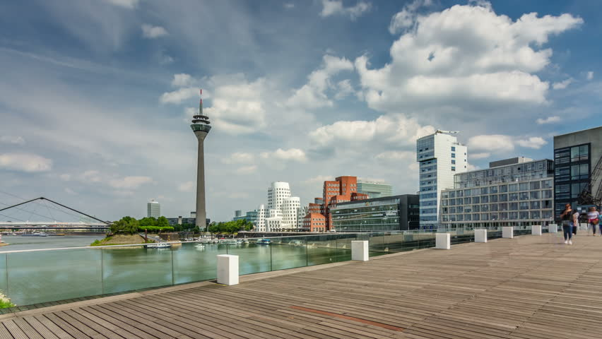 Dusseldorf cityscape with view on media harbor, Germany. Timelapse view 4K.