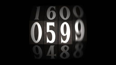 Rotating counter, old school. Four digits, one minute, on transparent background. Countdown.