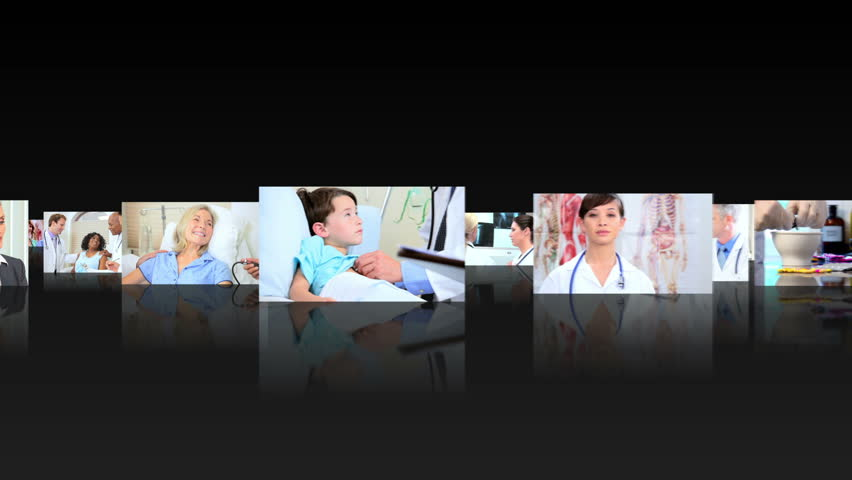 Montage 3D fly through images of multi ethnic health professionals working with patients in medical centers