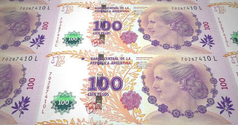 Banknotes of one hundred argentine pesos of Argentine Republic, cash money, loop