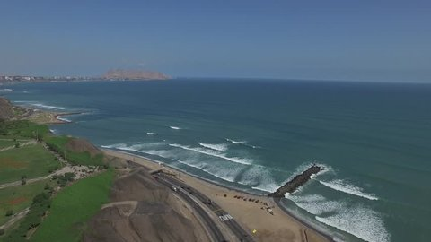 LIMA, PERU: Aerial view of Miraflores, Left panning and travelling.