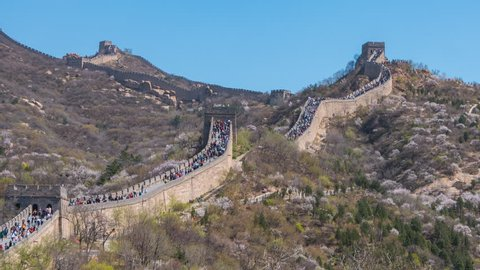 The crowd of tourist at Badaling Great Wall of Beijing in China