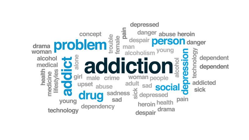 Addiction animated word cloud, text design animation.