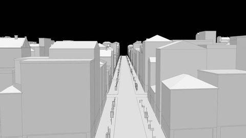 Wireframe city build 3D render