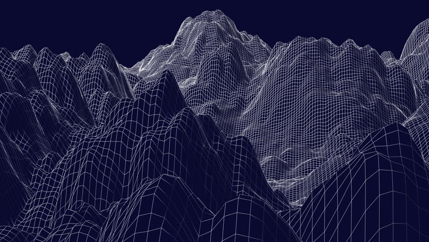 Flight over the digital mountain landscape.